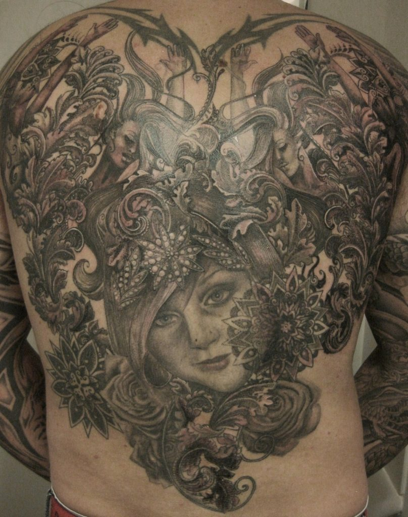 face and nymphs back piece